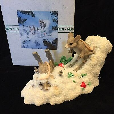 Charming Tails Snow Mouse Fun Hot Doggin Skiing Wipe-Out 87003 Fitz & Floyd MIB