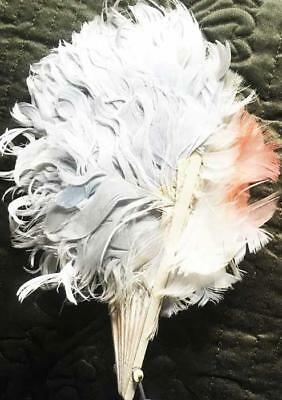 vintage petite OSTRICH FEATHER FAN - pale blue with a touch of pink!!