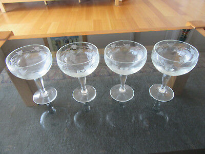 4 Gorgeous Grapevine Etched Small Champagne Glasses