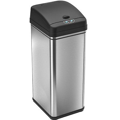 iTouchless Deodorizer Sensor Touchless 13 Gallon Stainless Steel Trash Can