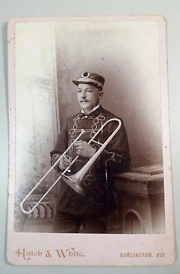 Rare US Army Trombone Musician 1880's Indian Wars Era Photograph Cabinet Card
