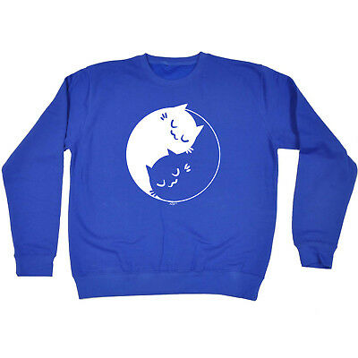 Funny Novelty Sweatshirt Jumper Top - Ying Yang Cat