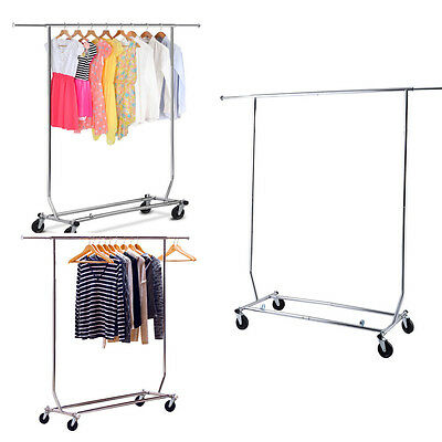 Heavy Duty Grade Commercial Clothing Garment w/ Rolling Collapsible Rack Hanger