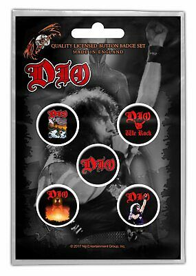 Dio We Rock Button Badge Pack 5 Button Set Badge Pack Metal Badges Official New