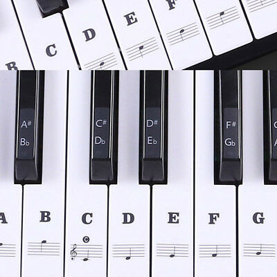 Music Keyboard Piano Stickers 88/61/54/49 Key white Laminted stickers Set Pack
