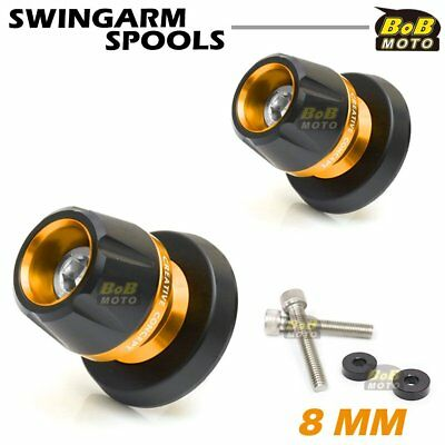 Swingarm Spools Gold 8mm CNC Rear For Kawasaki ZX-6R 636 2013-2018