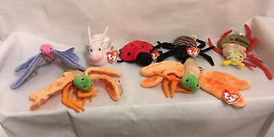 Lot of 7 Ty Beanie Babies Collection Bugs Family Butterfly Snail and Various