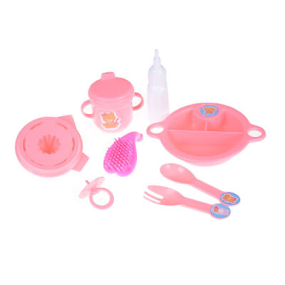 8pcs/set Cup Comb Fork Spoon Bowl Feeding Tableware For 43cm Baby Doll BDAU