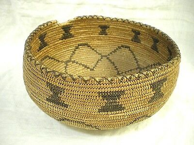 """Antique Weave INDIAN Native American 8.5"""" BOWL Hat? BASKET Coiled Woven MISSION?"""