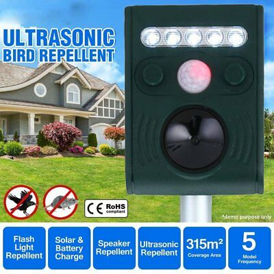 Ultrasonic Bird & Animal Repeller Pest Repellent with Large Solar Power Plate AU