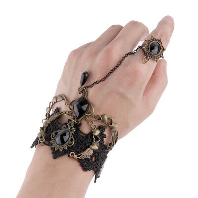 Vintage Victorian Gothic Steampunk Bracelet Wristband Lace Bowknot Wrist Cuff