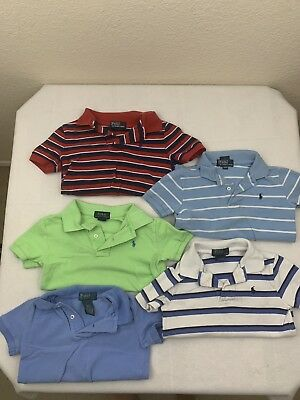 Ralph Lauren Toddler Boys Polo Lot Set Of 5 2T 3T Red Blue Green Striped Shirts