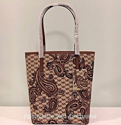 68a359c6656d90 NWT Michael Kors Paisley Emry Large North South Heritage Tote Luggage Bag  $358