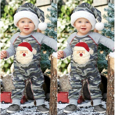 Fashion Newborn Baby Boys Girls Santa Camo Romper Playsuit Outfits Clothes USA
