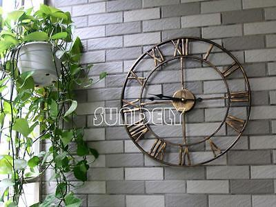 Large Wall Clock 47cm Golden Metal Industrial Rustic Vintage French Provincial