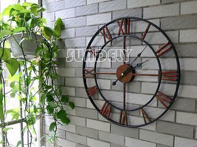 Large 47cm Captains Wall Clock Old World Charm Ornate Metal Arms Round Natural