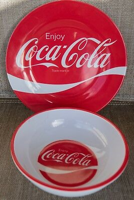 Classic  Coca~Cola Coke Red & White Melamine Plate &  Melamine Bowl  New