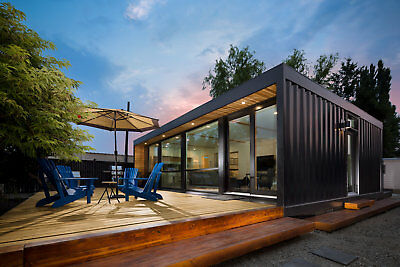 Asymptech Prefab Home Container Cottage Cabin 2x40FT 500SF Hydraulic Deck