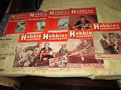 """HOBBIES ILLUSTRATED"""" 9x Magazines 1952.Vintage Collectables.STAMINA CLOTHING Bak"""