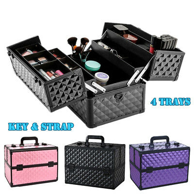 Portable Beauty Makeup Case Cosmetic Nail Box Vanity Carry Bag Organiser Strap