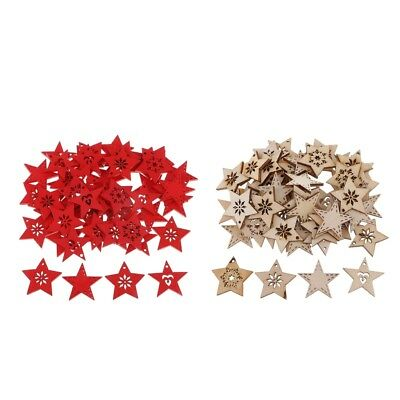 50Pc 3mm Wooden Star Shape Xmas Snowflake Crafts Embellishments Scrapbooking
