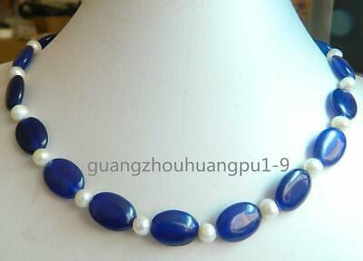 """New Beautiful 13x18mm Oval Sapphire & Natural Pearl Necklace 18"""""""