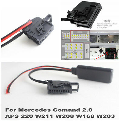 Bluetooth Adapter AUX Cable for Mercedes Comand 2.0 APS 220 W211 W208 W168 W203