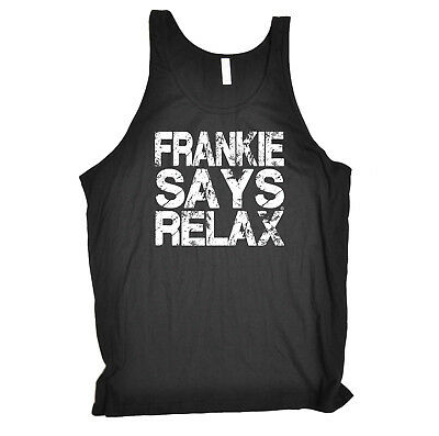 Funny Novelty Vest Singlet Top - Distress White Frankie Says Relax