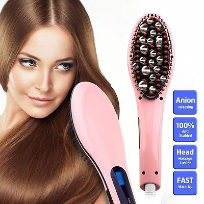 Electric Hair Straightener Comb LCD Brush Auto Massager US Plug Charm US Stock