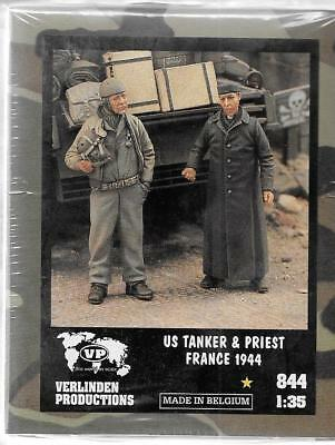 Verlinden WWII US Tanker and Priest, France 1944, 2 Resin Figs 1/35 844  ST