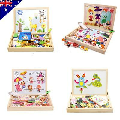 Magnetic Puzzles Educational Wooden Jigsaw Toy for Boys Girls Toddlers Kids AU