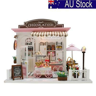DIY Wooden Miniatures Dollhouse Furniture LED Kit Child Toy Birthday Xmas Gift