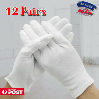 12 Pairs Handling Work Hand Protector Soft Costume Jewellery Cotton White Gloves