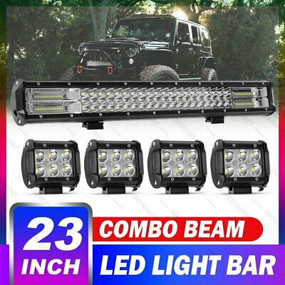 23inch Philips LED Combo Light Bar + 4'' Spot Pods Offroad Driving Truck 4WD SUV