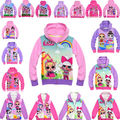 Girls LOL Surprise Dolls Coat Jacket Hooded Top Sweatshirts Clothes Gifts Lot