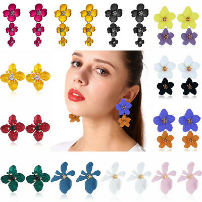Fashion Women Statement Boho Alloy Ear Stud Crystal Flowers Dangle Drop Earrings