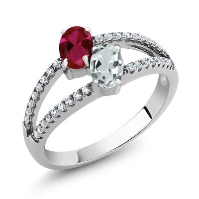 1.34 Ct Red Created Ruby Sky Blue Aquamarine Two Stone 925 Sterling Silver Ring