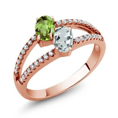 1.34 Ct Peridot Sky Blue Aquamarine Two Stone 18K Rose Gold Plated Silver Ring