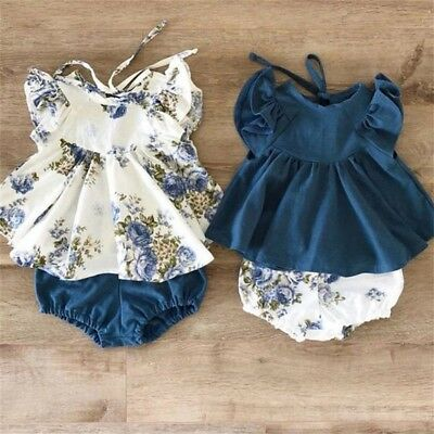 2PCS Newborn Baby Girls Floral Tops Dress Shorts Pants Briefs Outfits Clothes