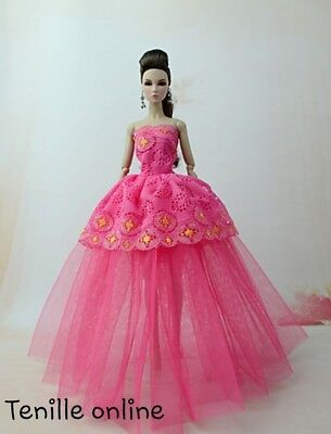 New Barbie clothes outfit princess wedding dress gown pink lace and shoes