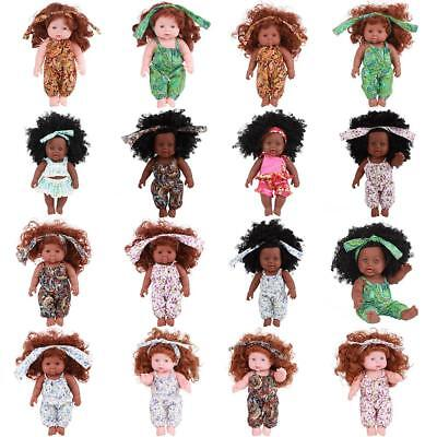 16# Newborn Simulation Baby Black Doll Toy Soft Vinyl Silicone Lifelike Doll UK!
