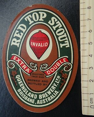 1 x VINTAGE RED TOP STOUT BRISBANE QUEENSLAND AUSTRALIA BEER LABEL.