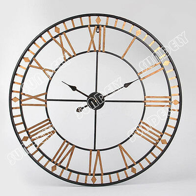 Gold Large Wall Clock 80Cm Metal Industrial Iron Vintage French Provincial