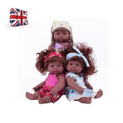 Simulation Realistic Reborn Black Doll Vinyl Baby Girl Newborn Lifelike Dolls