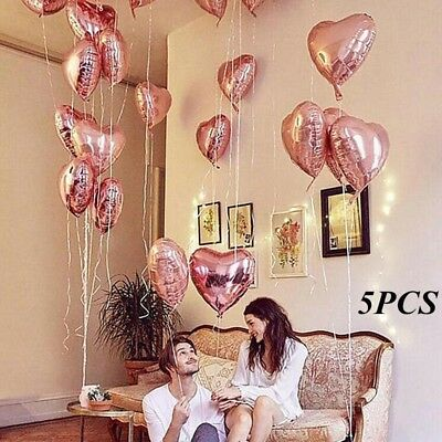 5Pcs 18Inch Love Foil Heart Helium Balloons Wedding Birthday Party Decor