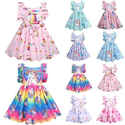 Girls Rainbow Unicorn Princess Dress Birthday Party Holiday Skater Swing Dresses