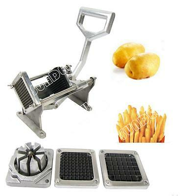 Potato French Fry Fruit Slicer Vegetable Cutter Commercial Quality W/ 4 Blades