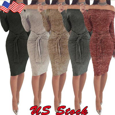 Women Off Shoulder Long Sleeve Midi Pencil Dresses Bodycon Knitted Sweater Dress