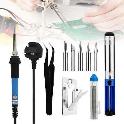 60W Electric Soldering Iron Kit Solder Welding Rework Tool Stand 6 Tips 220-240V