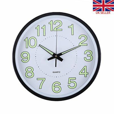 New 12'' Analog Glow In The Dark Silent Noctilucent Wall Clock Quartz Decoration